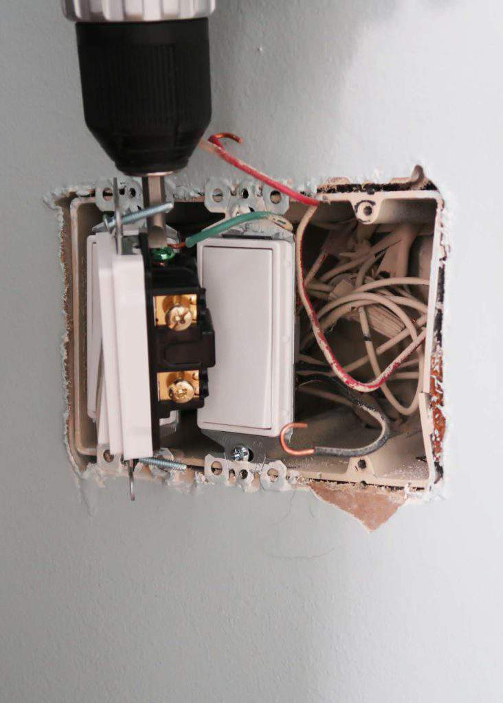 Attach Wires and Grounding Wire to New Light Switch Fixture