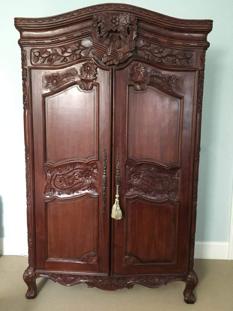 Dark Stained French Carved Armoire