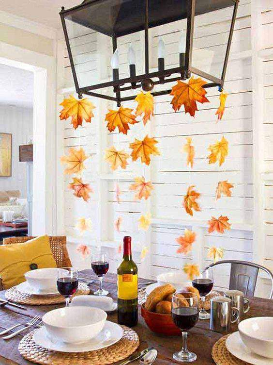 Fall Leaves from Chandelier_Home Bunch