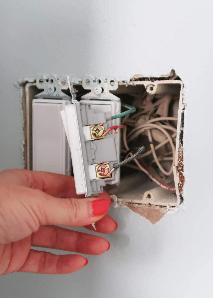 Pull Fixture and Wires Out to Expose Screws