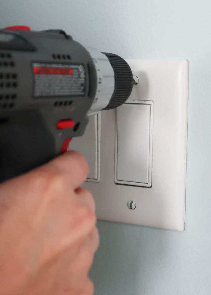 Remove Light or Dimmer Switch Backplate with Power Drill