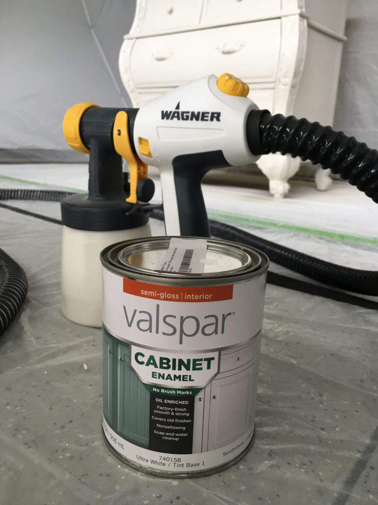Wagner Control Finish Nozzle sitting on floor with Valspar Cabinet Enamel