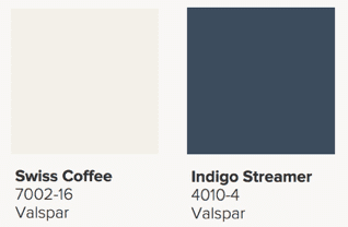 Valspar Paint Swiss Coffee and Indigo Streamer