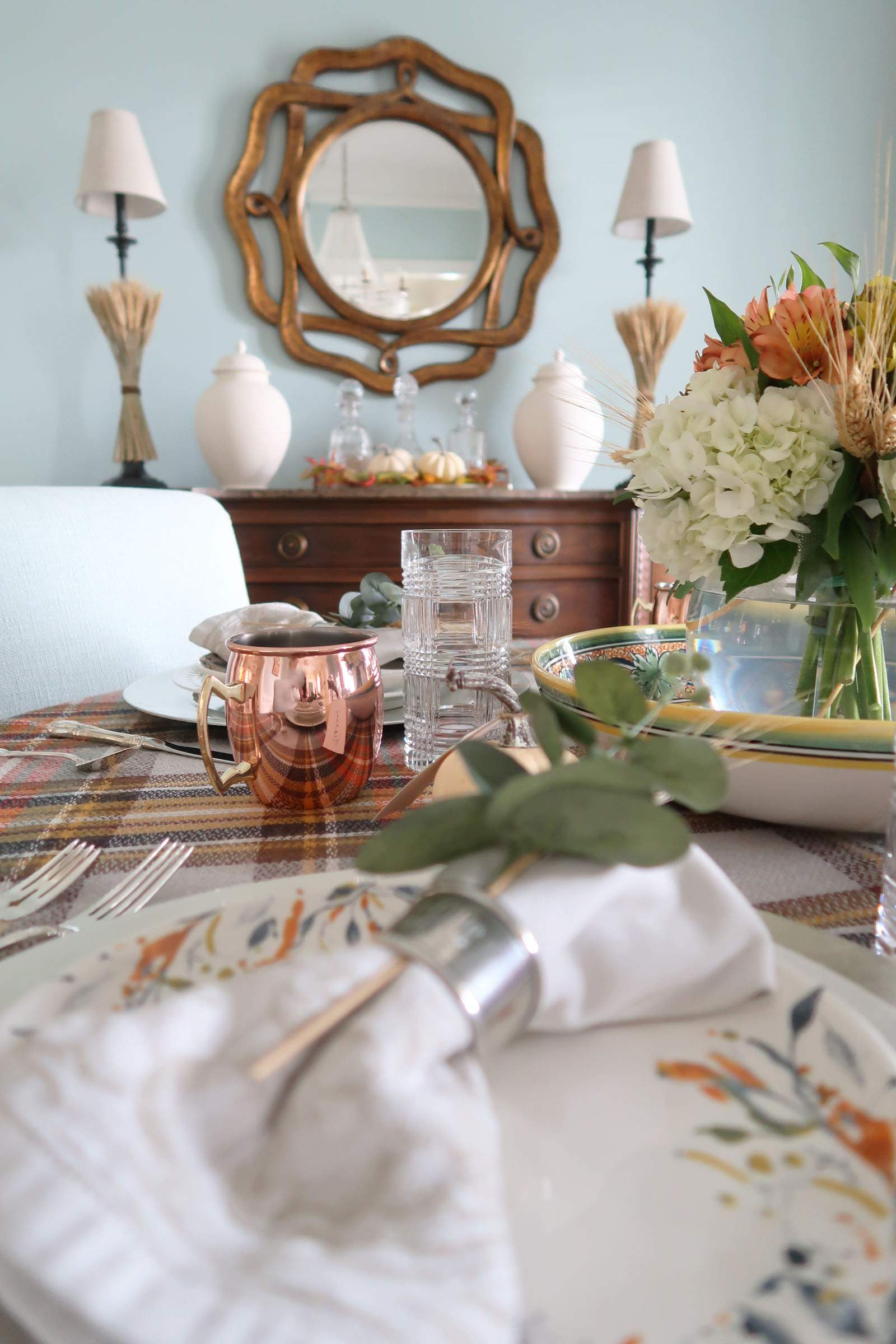 Copper Mugs and Crystal Plaid Tumblers-Porch Daydreamer