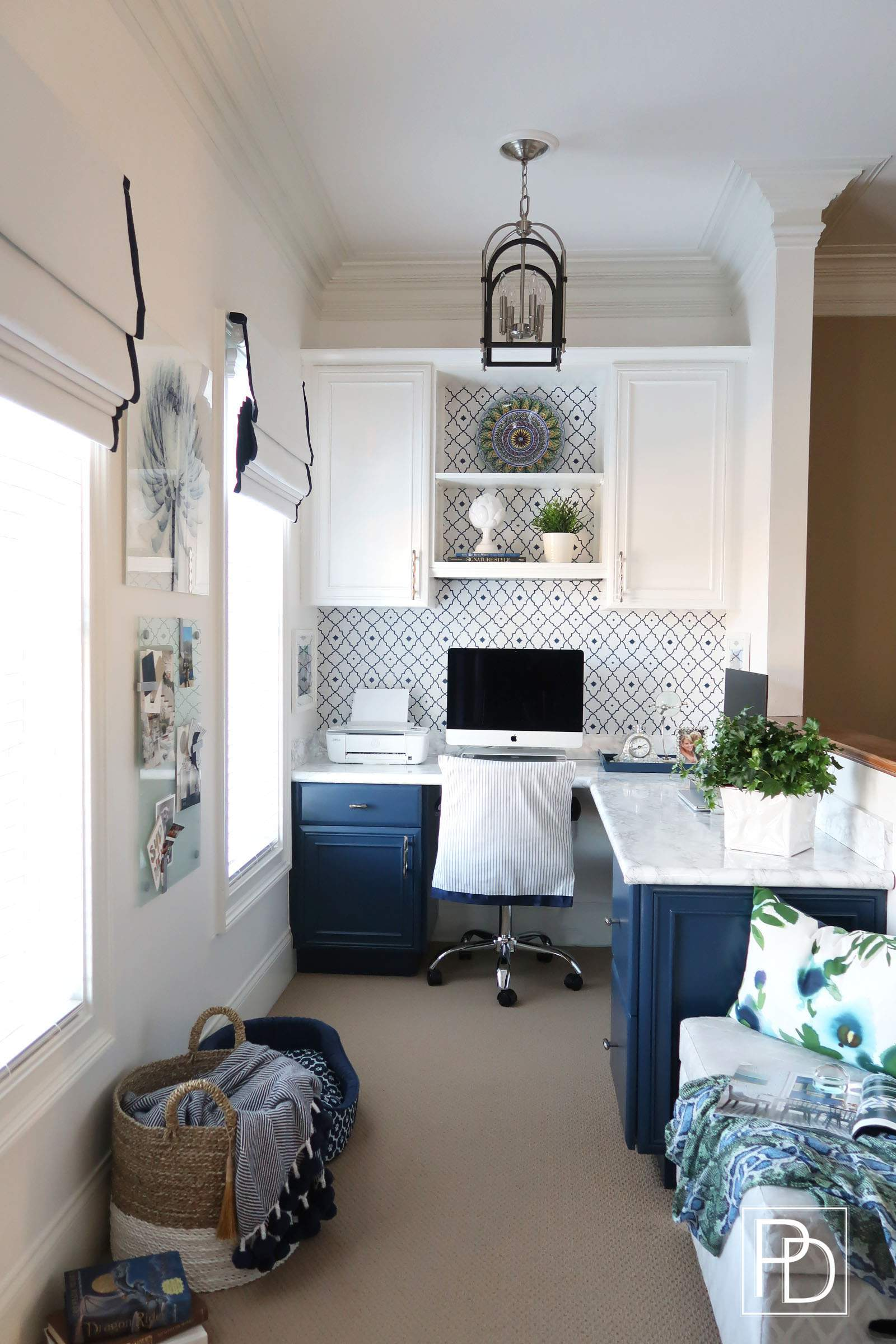 Final Reveal-Office Space-One Room Challenge-Porch Daydreamer-White and Navy_Logo
