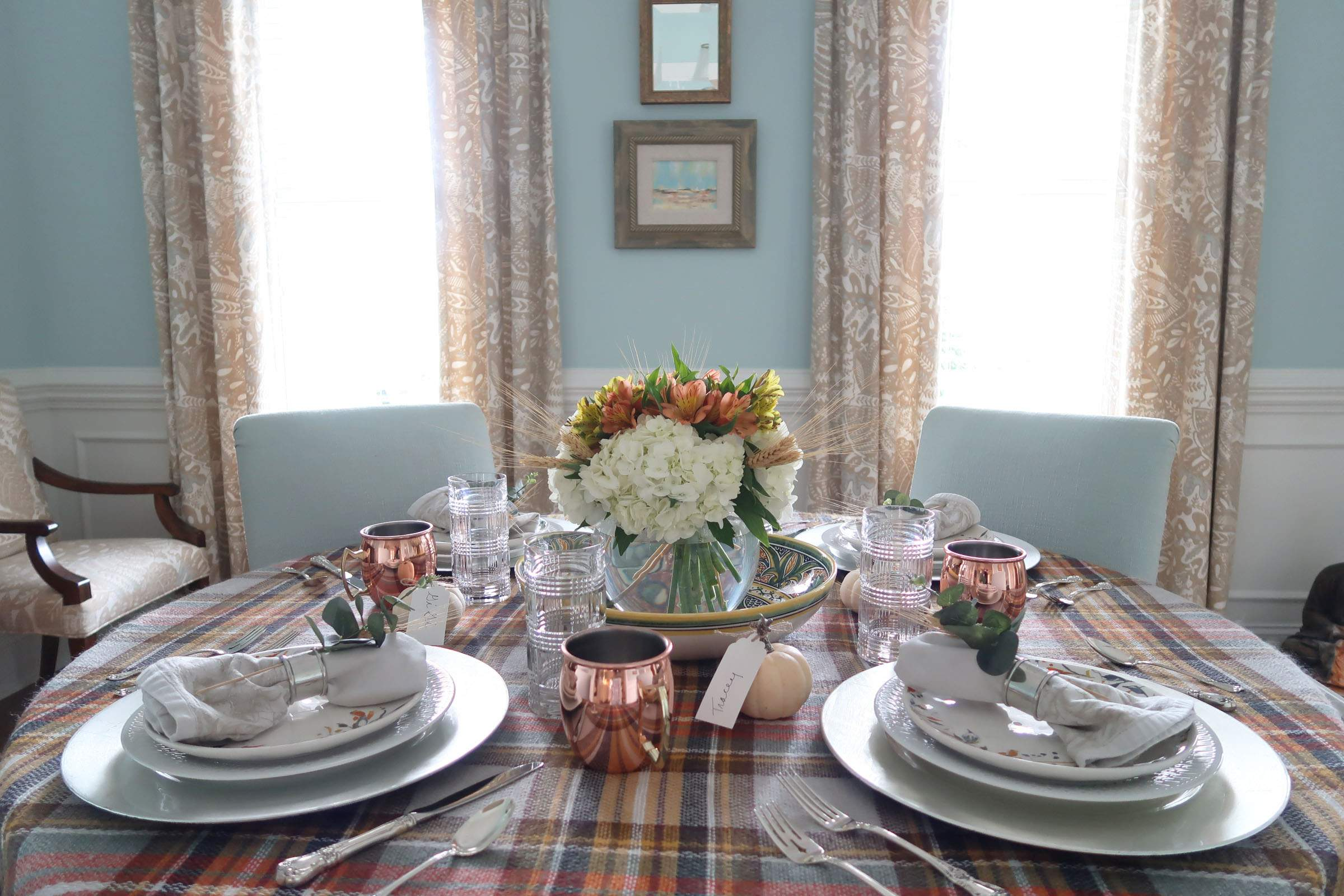 Last Minute-Thanksgiving-Tablescape-Blue Plaid-Round Dining Table-Porch Daydreamer