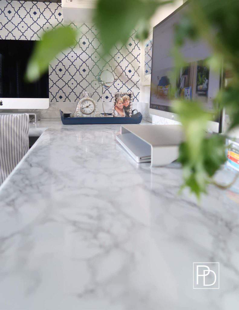 Marble Contact Paper-Office-New Counter-One RoomChallenge-Porch Day Dreamer