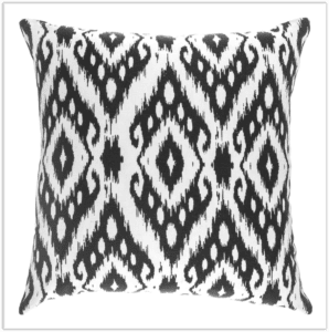 Navy and White Ikat Pillow