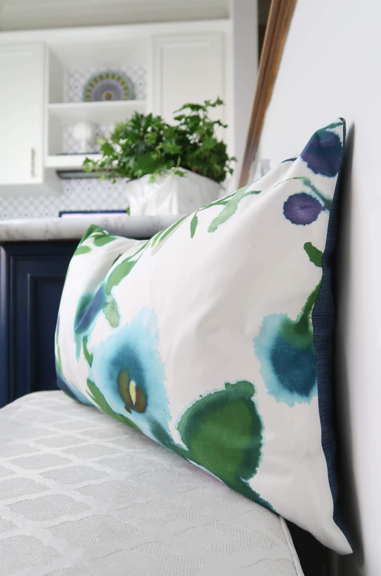 Thibaut Watercolor Pillow Navy and White