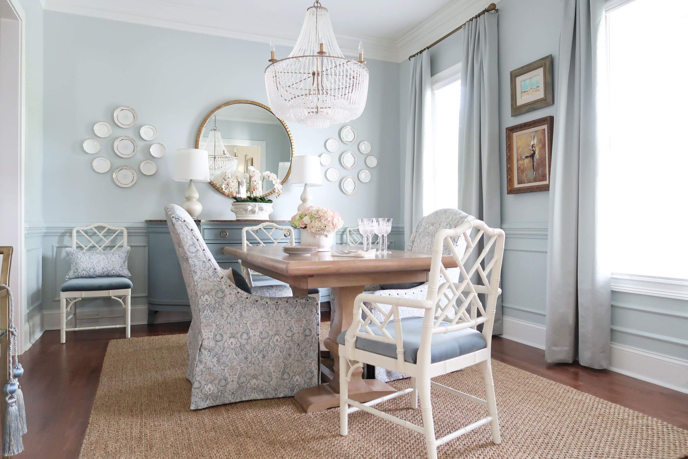 Reveal French Country Dining Room at an Angle with Bar Cart