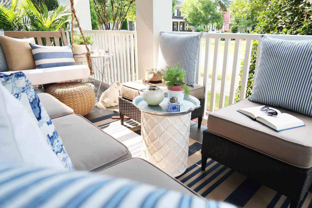 coastal front porch in blue and white by Porch Daydreamer