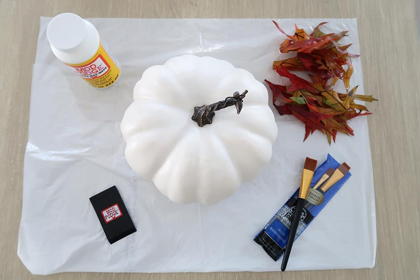 Supplies for applying leaves to a white pumpkin