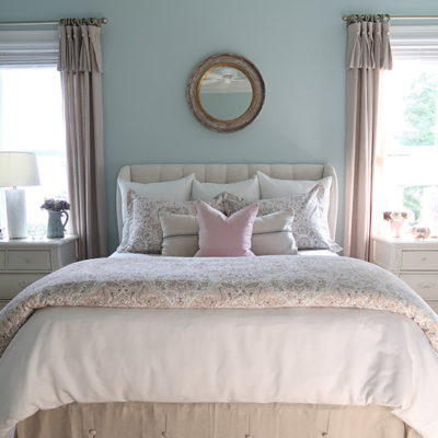 Blush and Gray with Cream Master Bedroom with Blue Walls