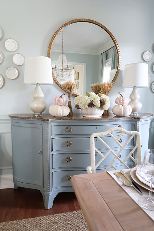 fall blue credenza with pumpkins and wheat