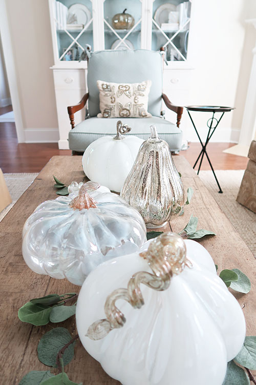 glass pumpkin patch on coffee table