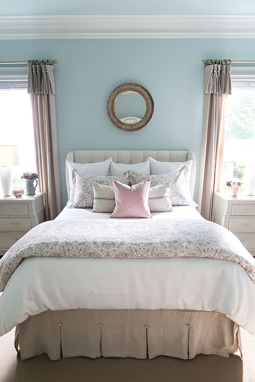 pottery barn anya bedding blush bedroom with blue walls