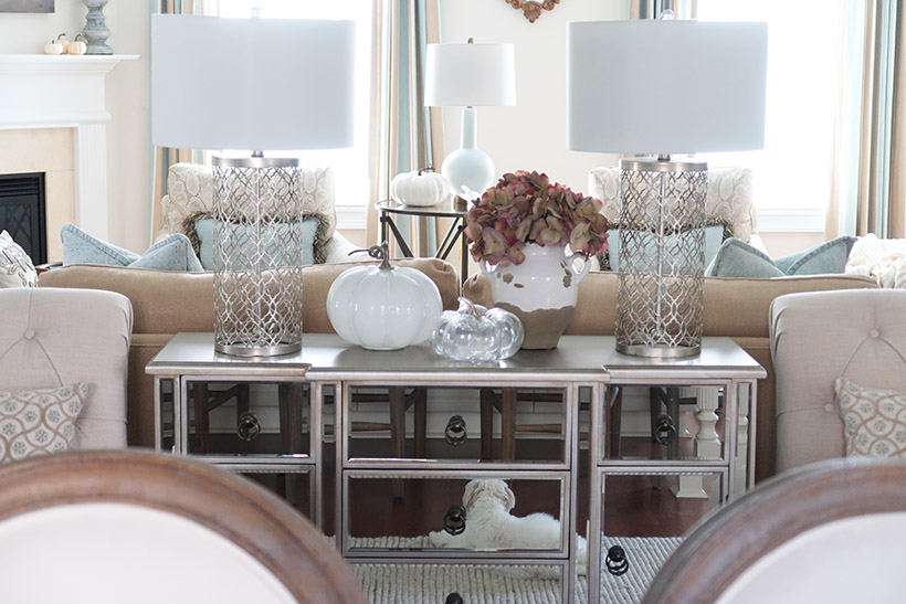 mirrored console with fall decor