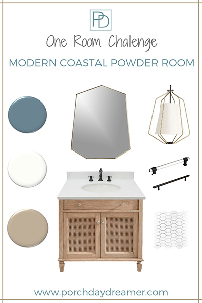 Modern Coastal One Room Challenge Powder Room Makeover_Porch Daydreamer