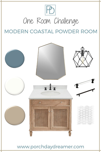 Modern Coastal Powder Room Makeover Week 3 of the Fall One Room Challenge. Learn all about the steps in a bathroom renovation. Demolition timeline and powder room tiling. #moderncoastal #coastal #coastalpowderroom #coastalbathroom #oneroomchallenge #bathroomrenovation #bathroomremodel #bathroomideas #porchdaydreamer