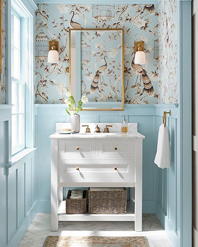 Shumacher Wallpaper in Powder Room
