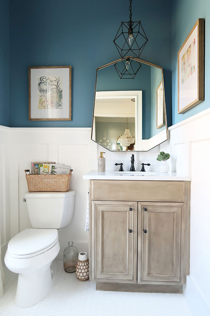 Modern-Coastal-Powder-Room-in-Behr-Blueprint-with-Seadrift-Pottery-Barn-Finish-vanity