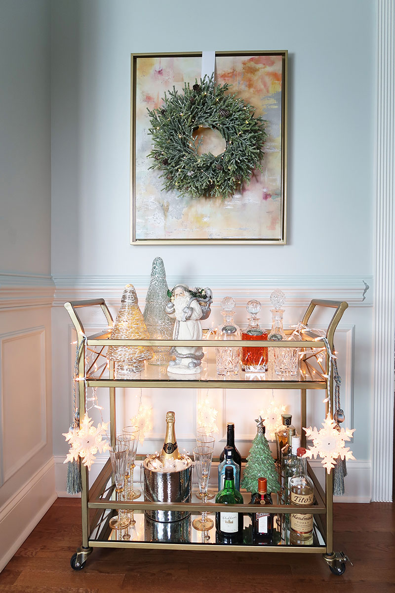 christmas-bar-cart-with-crystal-and-lights