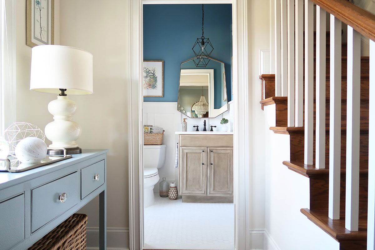 reveal-one-room-challenge-modern-coastal-powder-room-blueprint-walls-board-and-batten-looking-into-room-from-foyer