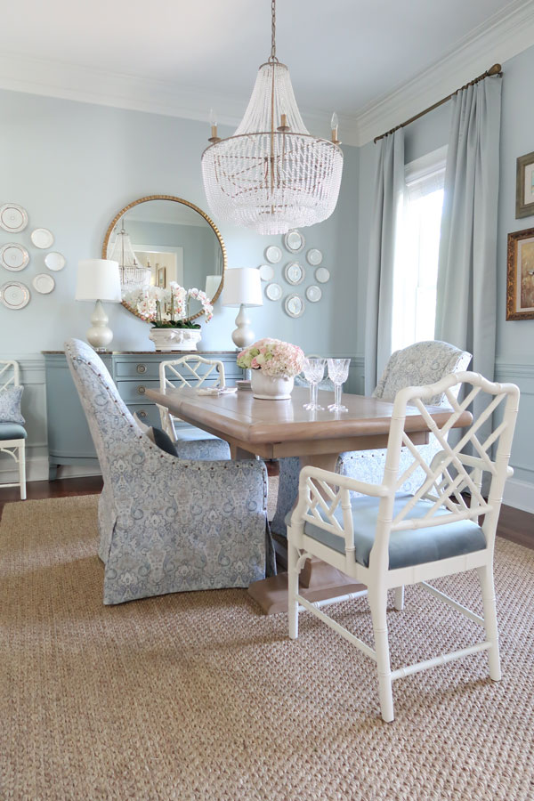 Dining-Room-Angle-Valspar-Sea-Salt-Blue-Paint-Empire-Chandlier-in-Gold