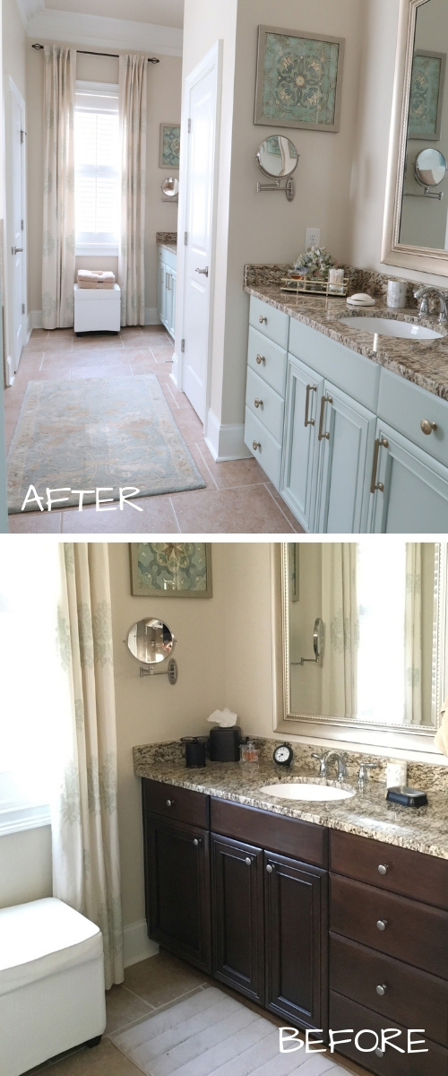 before after painted stained bathroom cabinets no sanding