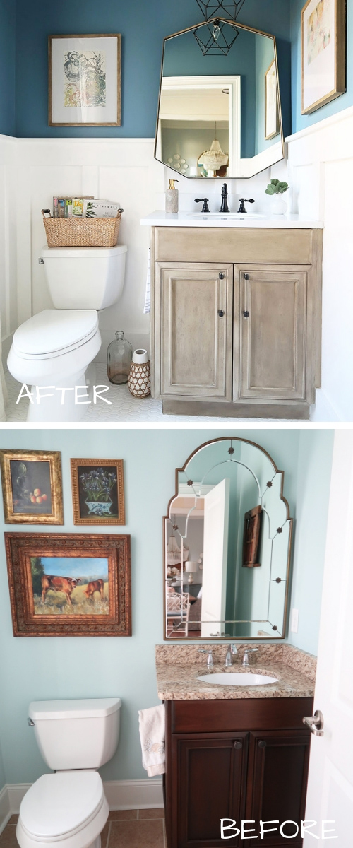 before after painted stained powder room vanity no sanding