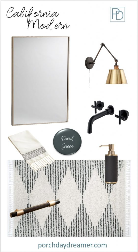 California Modern Bathroom Room Makeover Mood Board