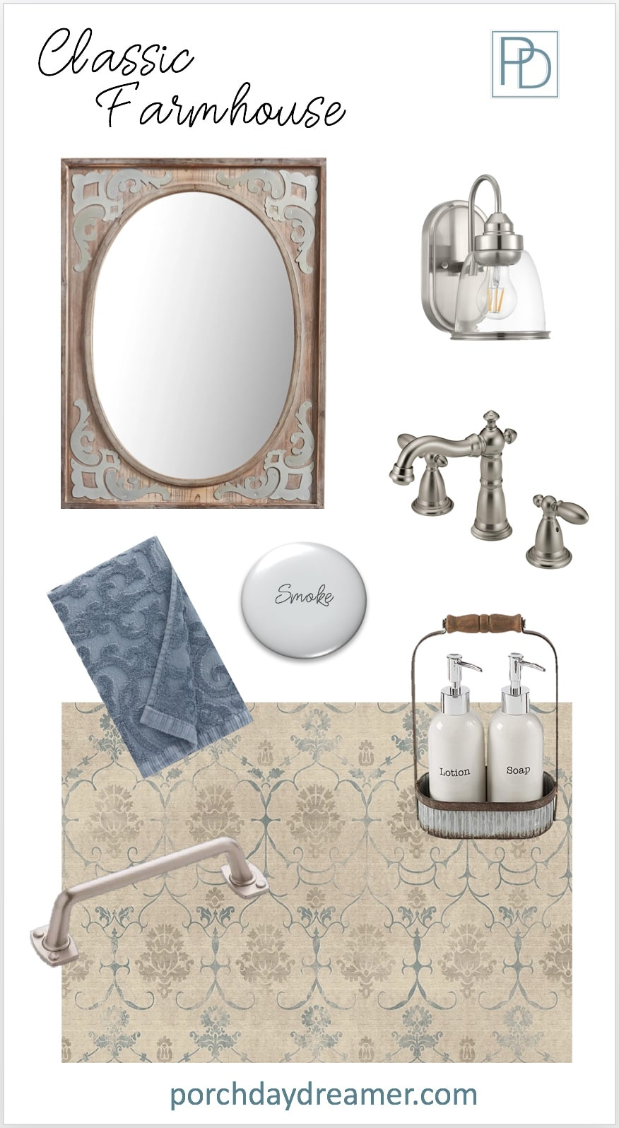 Classic Farmhouse Bathroom Room Makeover Mood Board
