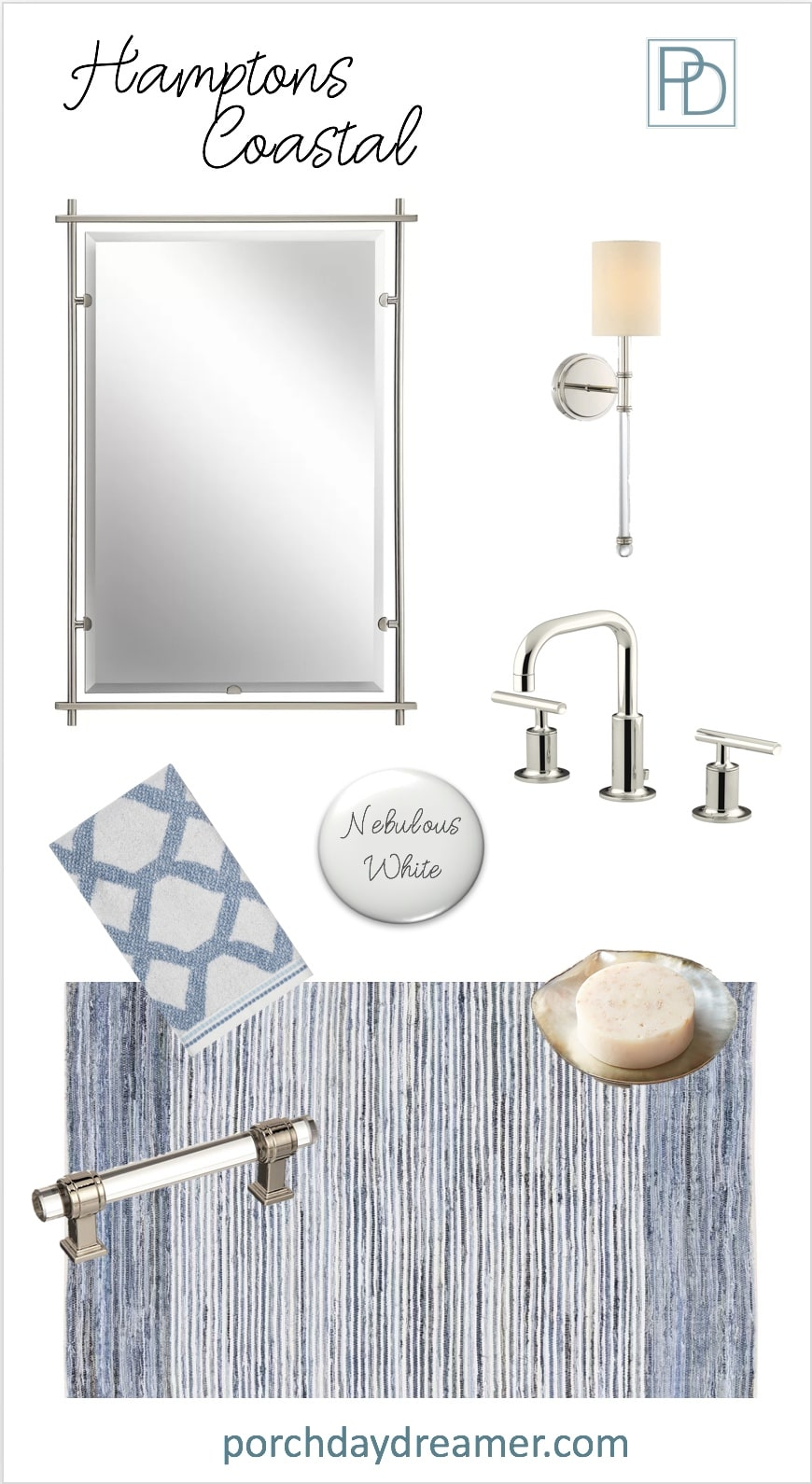 Hamptons Coastal Bathroom Room Makeover Mood Board