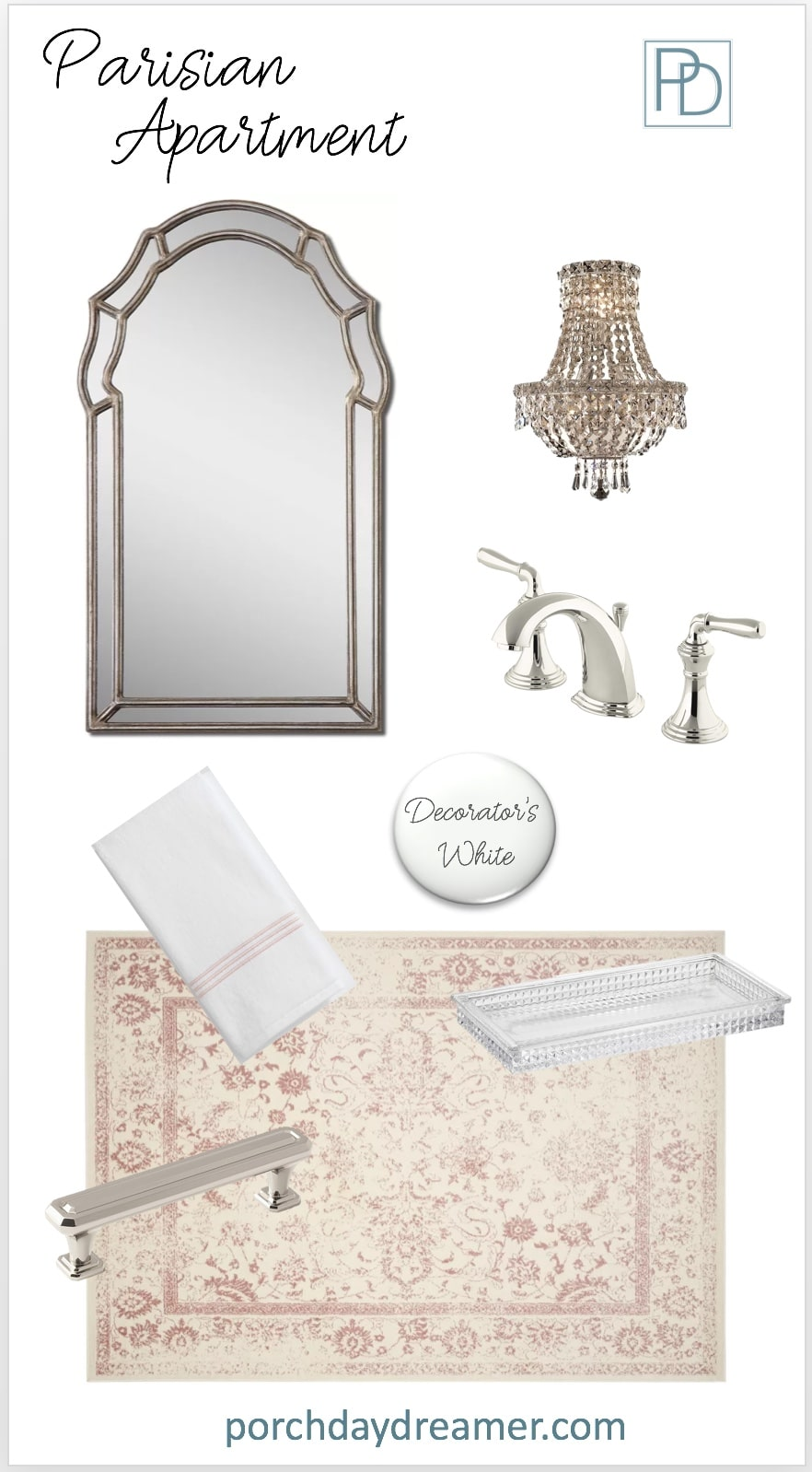Parisian Apartment Bathroom Room Makeover Mood Board