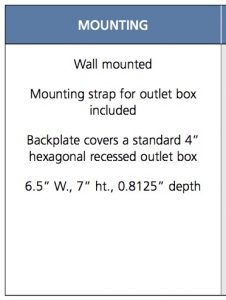 back plate wall mounting dimensions for outdoor wall sconce