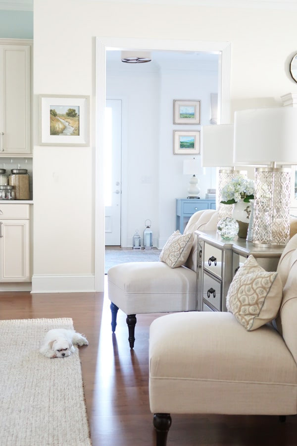 coastal-cottage-sitting-room-mirrored-chest-cream-slipper-chairs-blue-console-maltese-dog-on-rug-sleeping-min