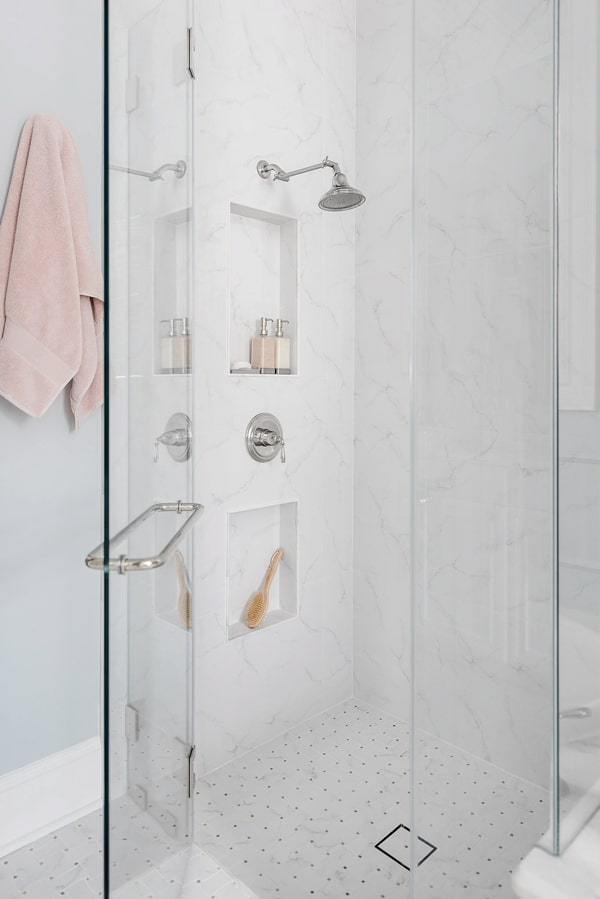 bathroom-remodel-shower-with-two-niches-marble-look-porcelain-slab-tile-mosaic-floor-tile-porch-daydreamer