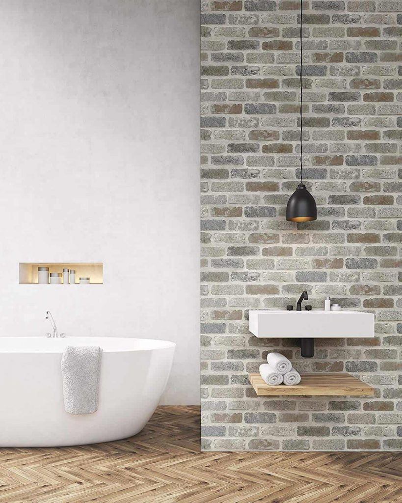 Peel and Stick Faux Brick wallpaper