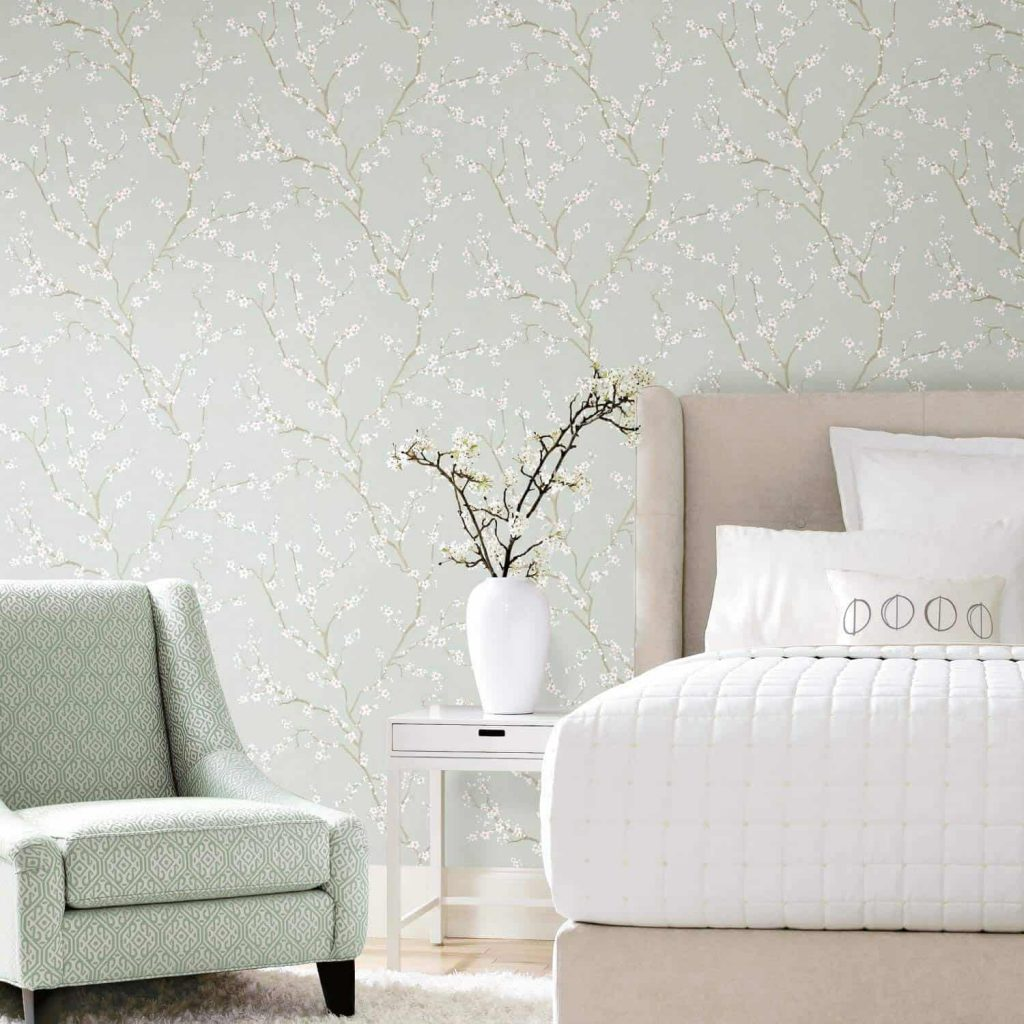 temporary peel and stick cherry blossom in blue wallpaper