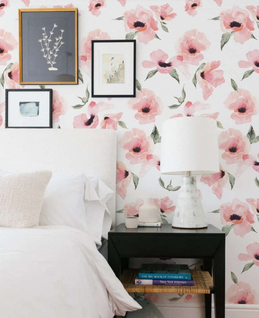 watercolor poppy flowers temporary wall paper
