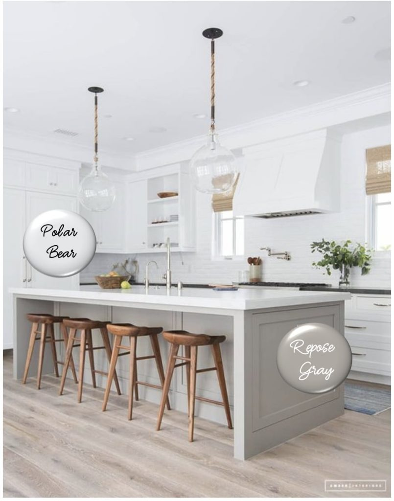 Amber Interiors Gray and White Kitchen_Repose Gray Polar Bear White_o