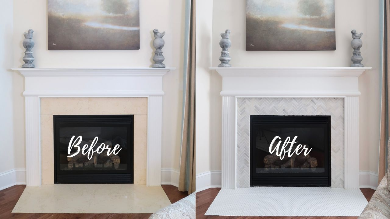 How To Tile Over A Marble Fireplace Surround Porch