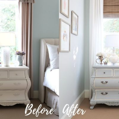 French Blue Paint Nightstand Makeover