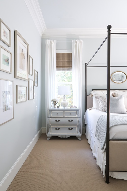 benjamin-moore-quiet-moments-master-bedroom-french-painted-nightstand-bronze-canopy-bed