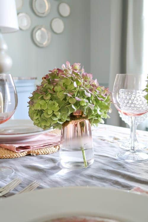rose-gold-bud-vase-dried-green-purple-hydrangea-fall-table-setting