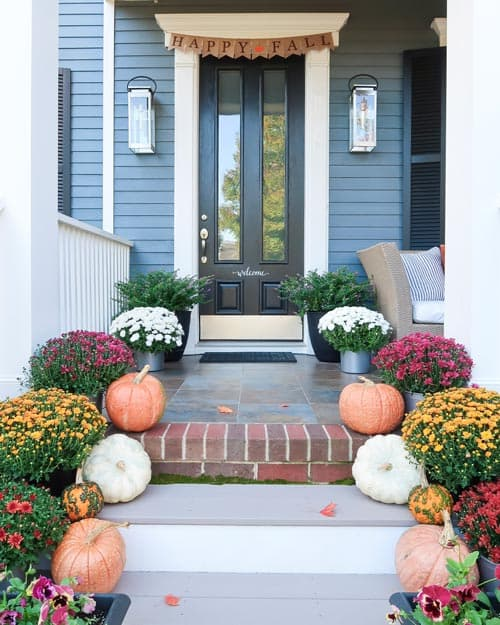 fall-front-entry-gold-mums-white-orange-pumpkins-happy-fall-sign