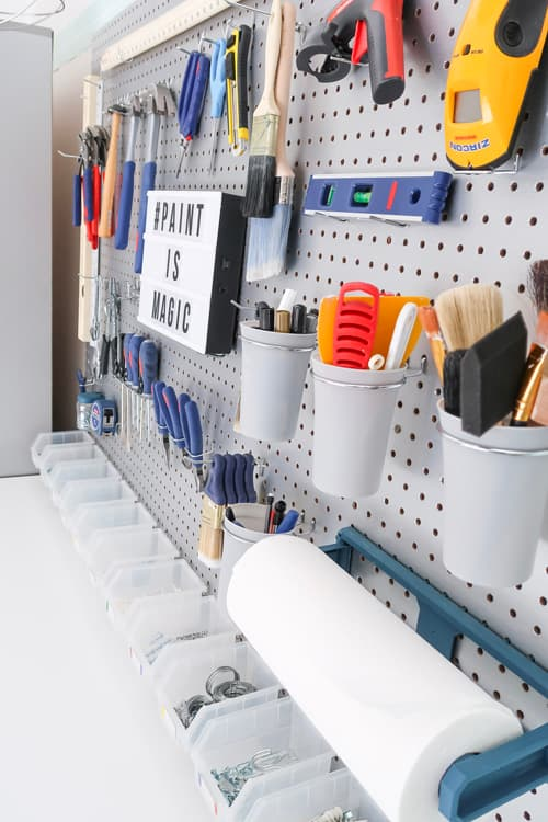 garage-makeover-tool-peg-board-bin-organizers-cup-holder